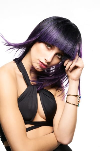 Image of girl with beautiful purple hair created by Clive Allwright for MUK Hair