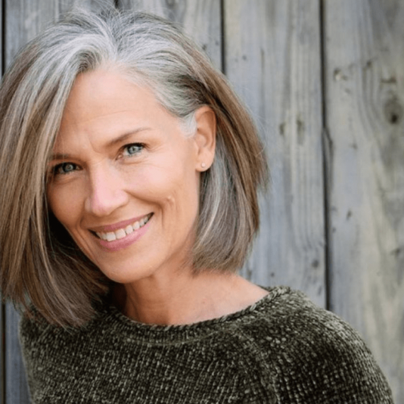 beautiful grey hair colour on lady