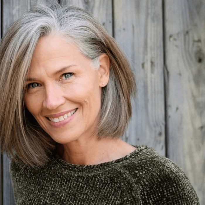 beautiful grey hair colour on lady